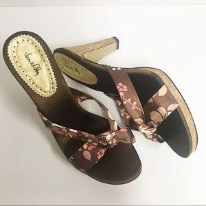 Sam & Libby Brown & Pink Mule Heel Sandals